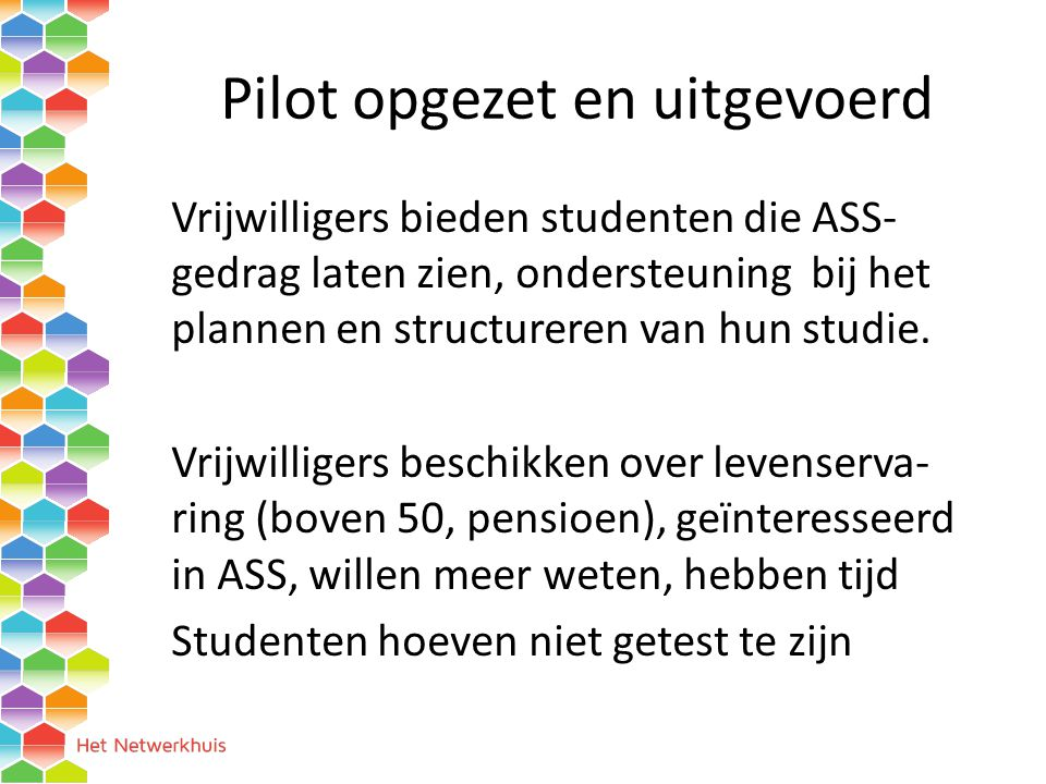 Pilot opgezet en uitgevoerd
