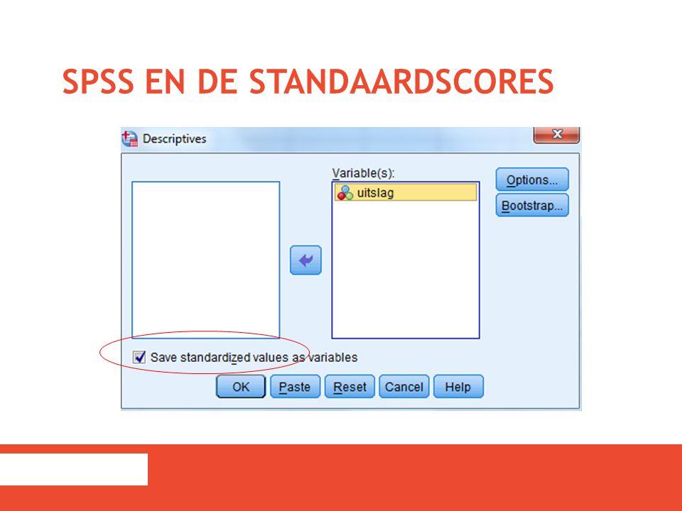 SPSS en de standaardscores