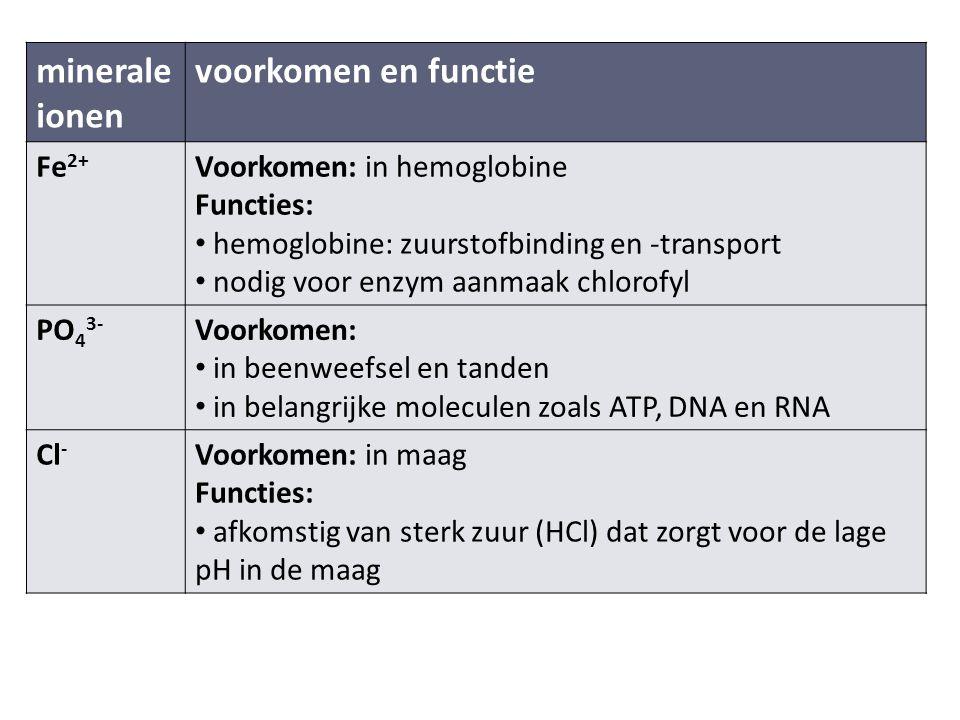 minerale ionen voorkomen en functie Fe2+ Voorkomen: in hemoglobine