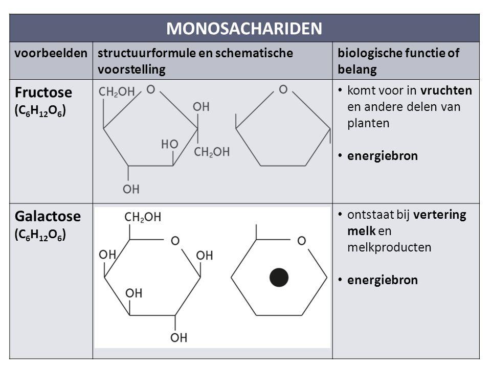 MONOSACHARIDEN Fructose Galactose voorbeelden