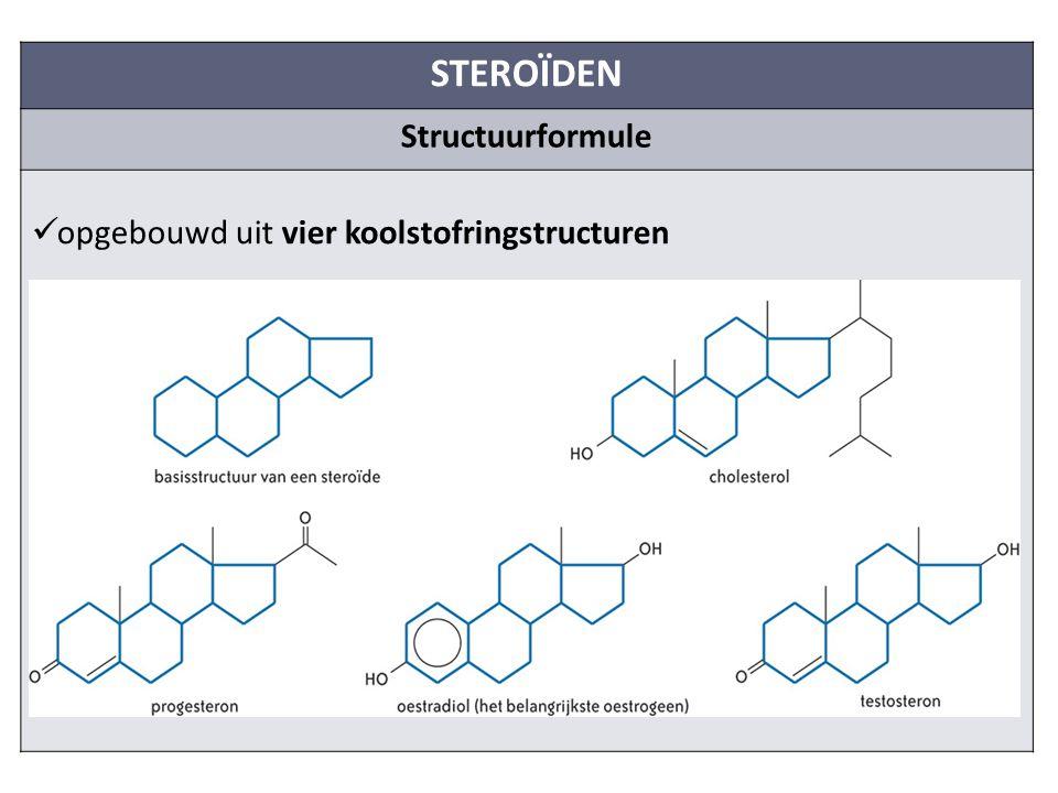 STEROÏDEN Structuurformule opgebouwd uit vier koolstofringstructuren