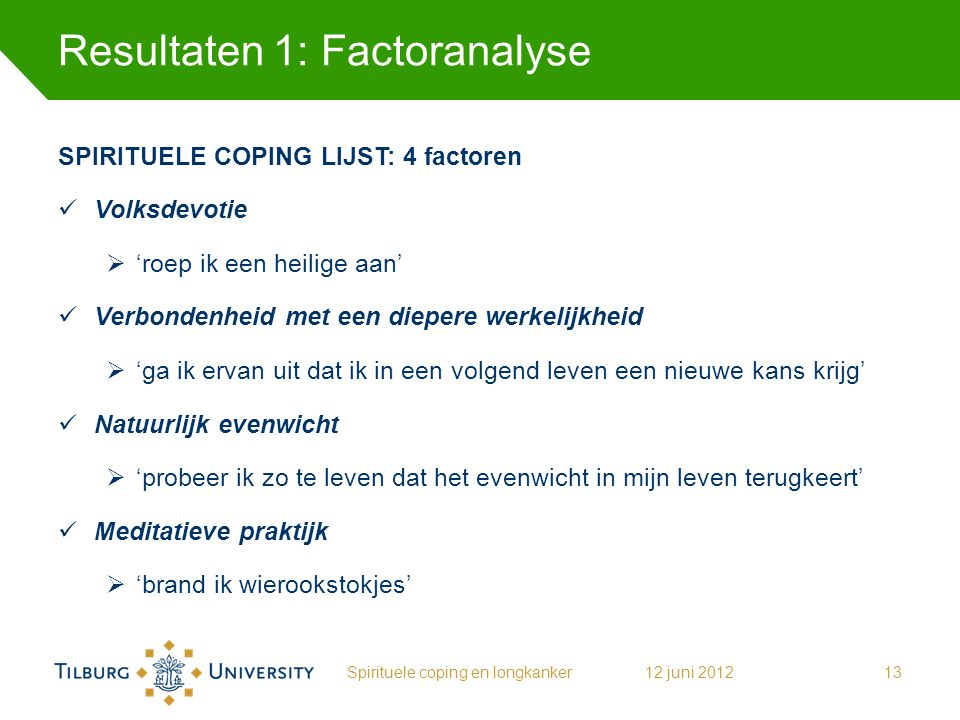 Resultaten 1: Factoranalyse