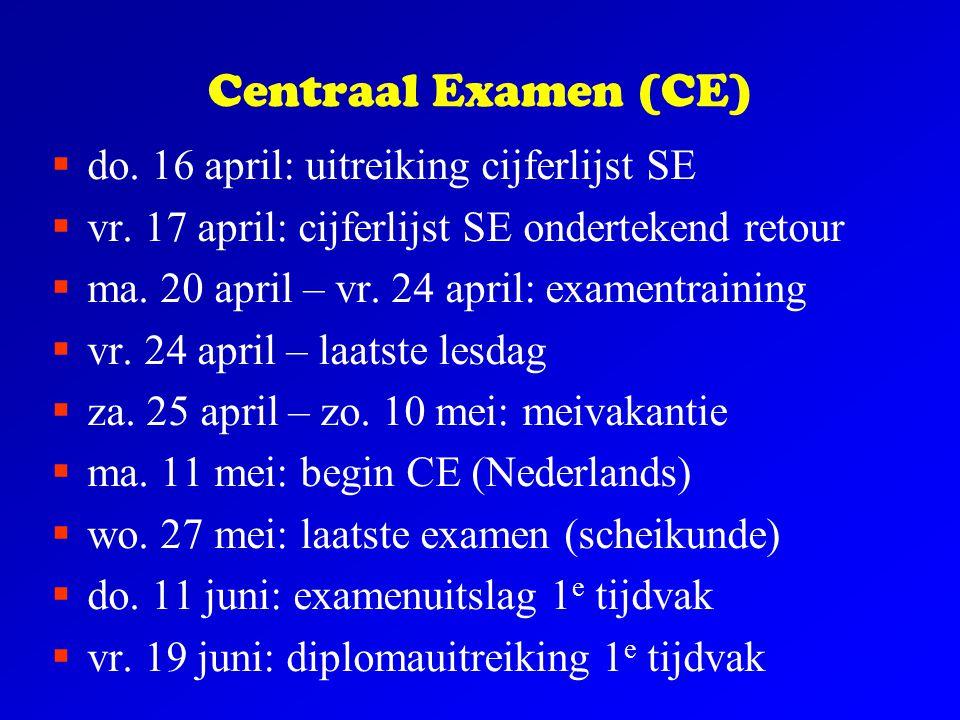 Centraal Examen (CE) do. 16 april: uitreiking cijferlijst SE