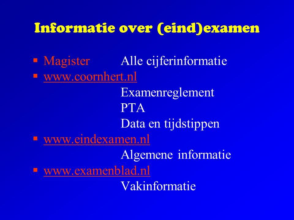Informatie over (eind)examen