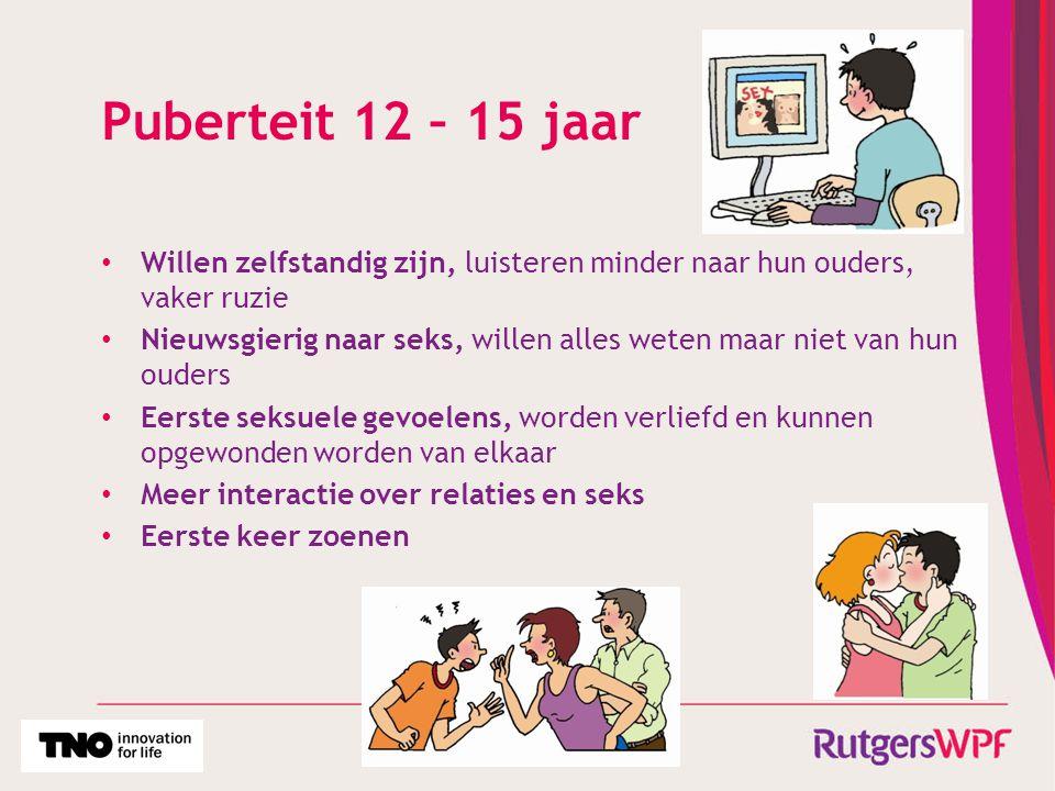 Puberteit 12 – 15 jaar Willen zelfstandig zijn, luisteren minder naar hun ouders, vaker ruzie.