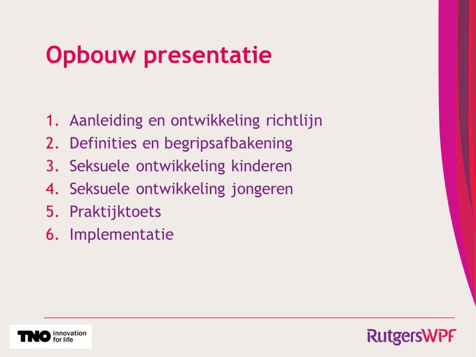 Opbouw presentatie Aanleiding en ontwikkeling richtlijn