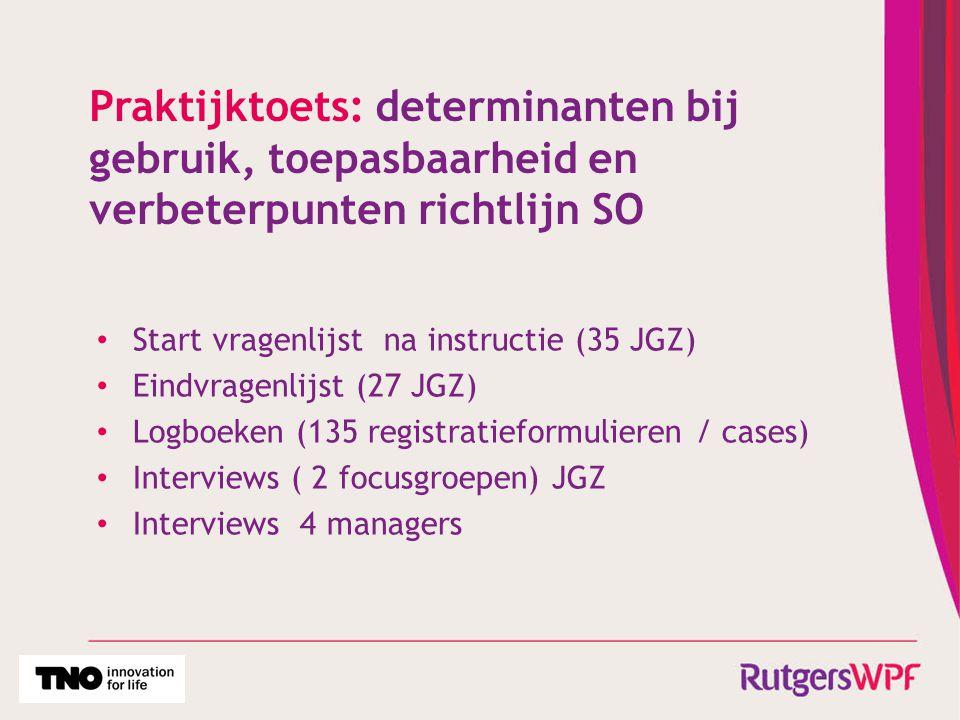 Praktijktoets: determinanten bij gebruik, toepasbaarheid en verbeterpunten richtlijn SO