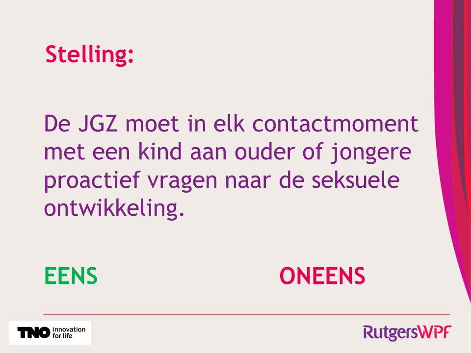 Stelling: De JGZ moet in elk contactmoment met een kind aan ouder of jongere proactief vragen naar de seksuele ontwikkeling.