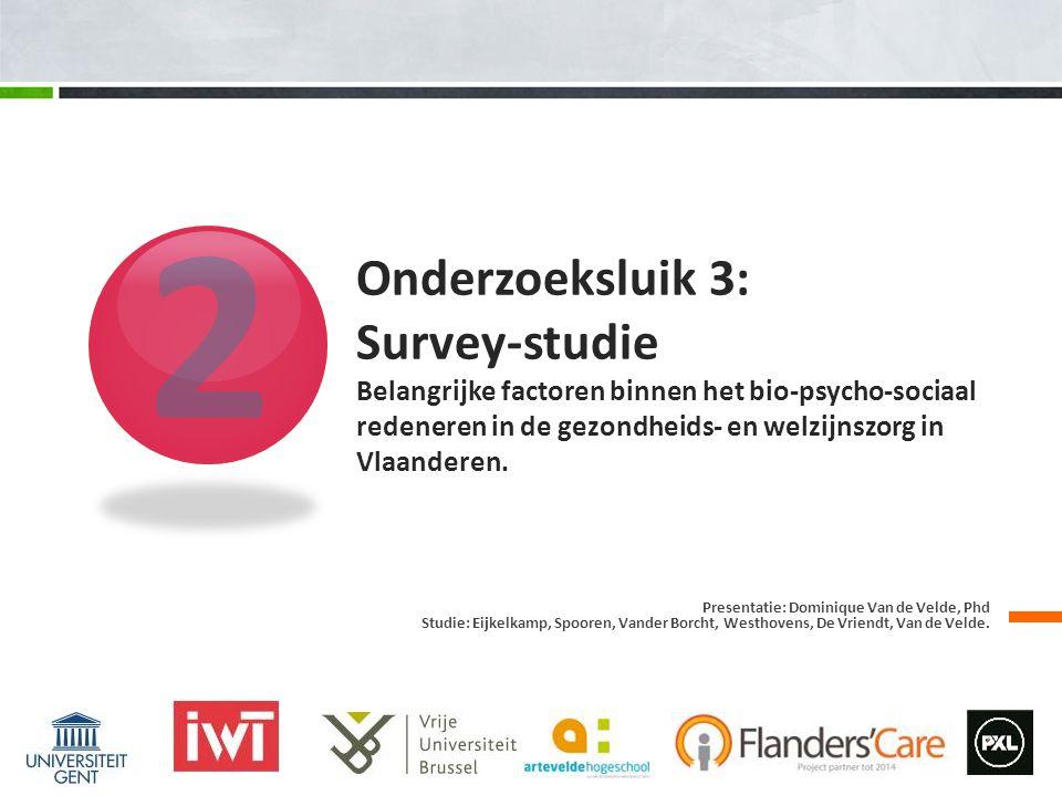 2 Onderzoeksluik 3: Survey-studie Belangrijke factoren binnen het bio-psycho-sociaal redeneren in de gezondheids- en welzijnszorg in Vlaanderen.