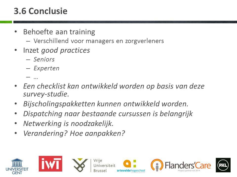 3.6 Conclusie Behoefte aan training Inzet good practices