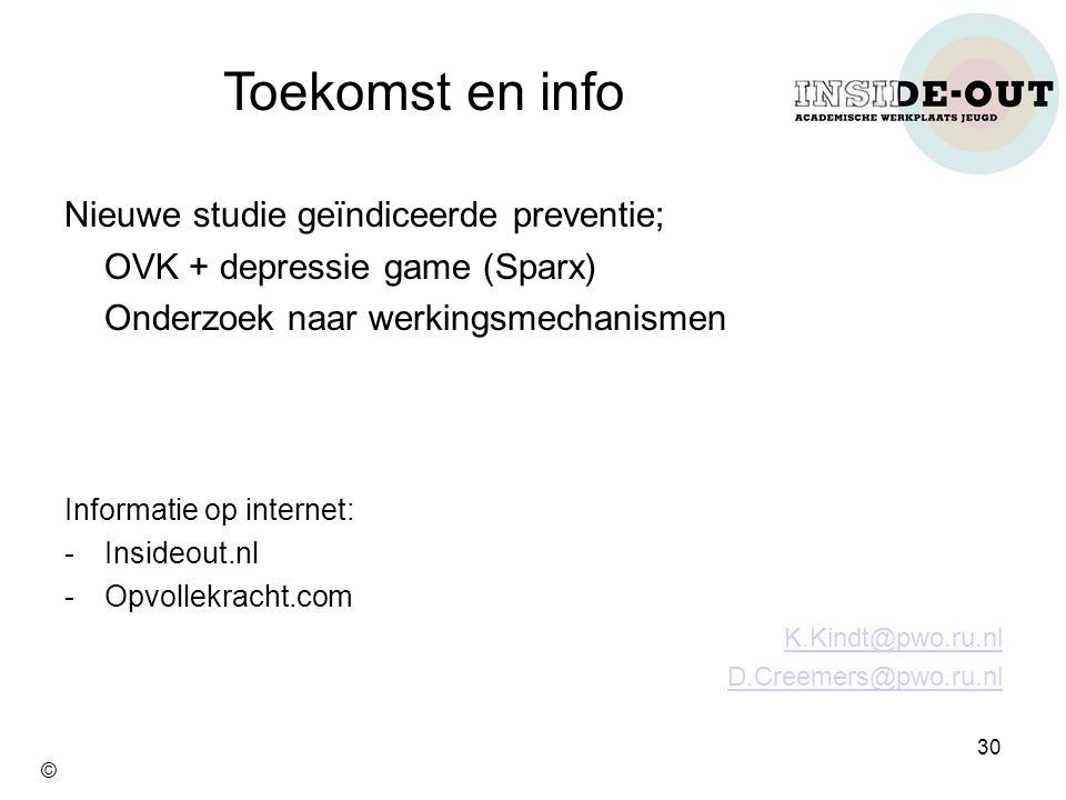 Toekomst en info Nieuwe studie geïndiceerde preventie;
