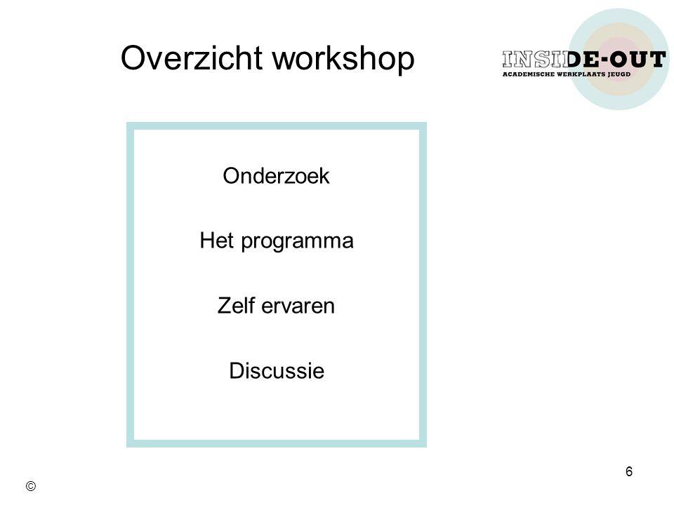 Overzicht workshop Onderzoek Het programma Zelf ervaren Discussie 6 ©