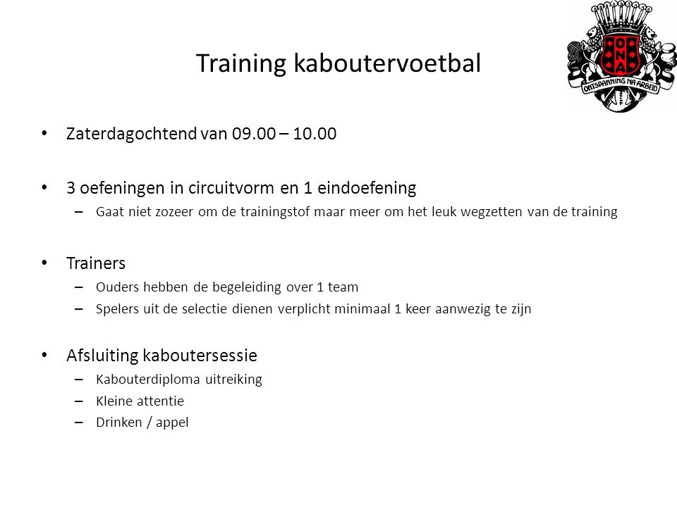 Training kaboutervoetbal