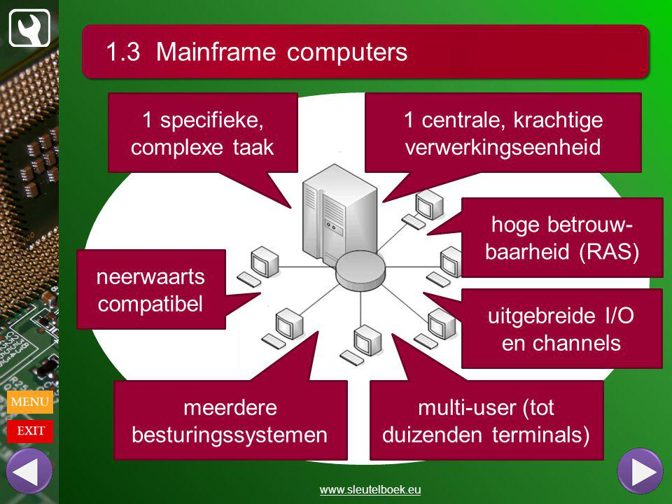 1.3 Mainframe computers 1 specifieke, complexe taak