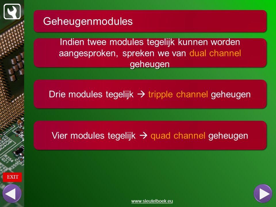 Geheugenmodules Indien twee modules tegelijk kunnen worden aangesproken, spreken we van dual channel geheugen.