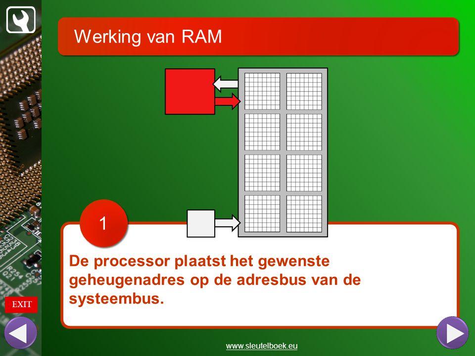 Werking van RAM 1. De processor plaatst het gewenste geheugenadres op de adresbus van de systeembus.