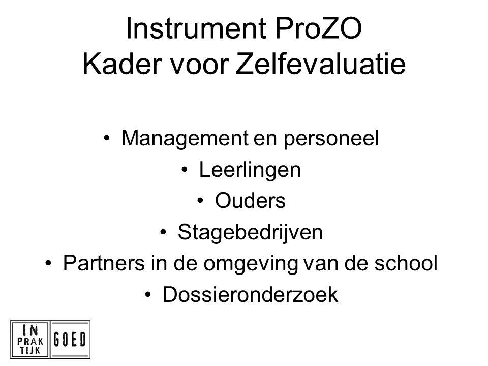 Instrument ProZO Kader voor Zelfevaluatie