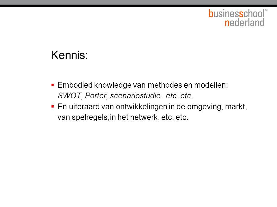 Kennis: Embodied knowledge van methodes en modellen: SWOT, Porter, scenariostudie.. etc. etc.