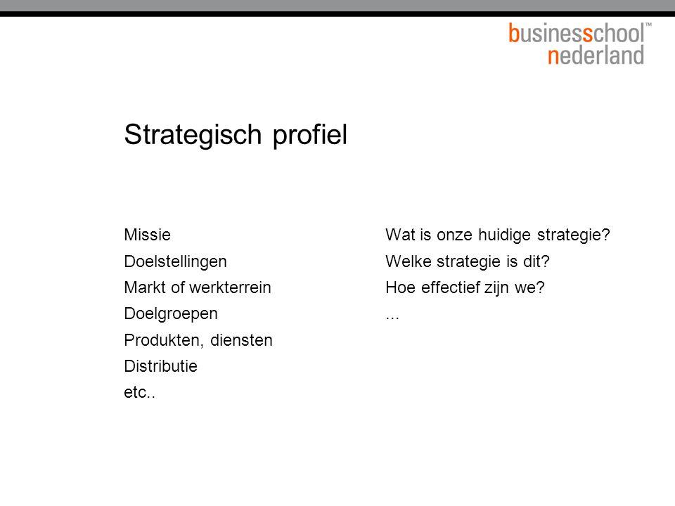 Strategisch profiel Missie Doelstellingen Markt of werkterrein