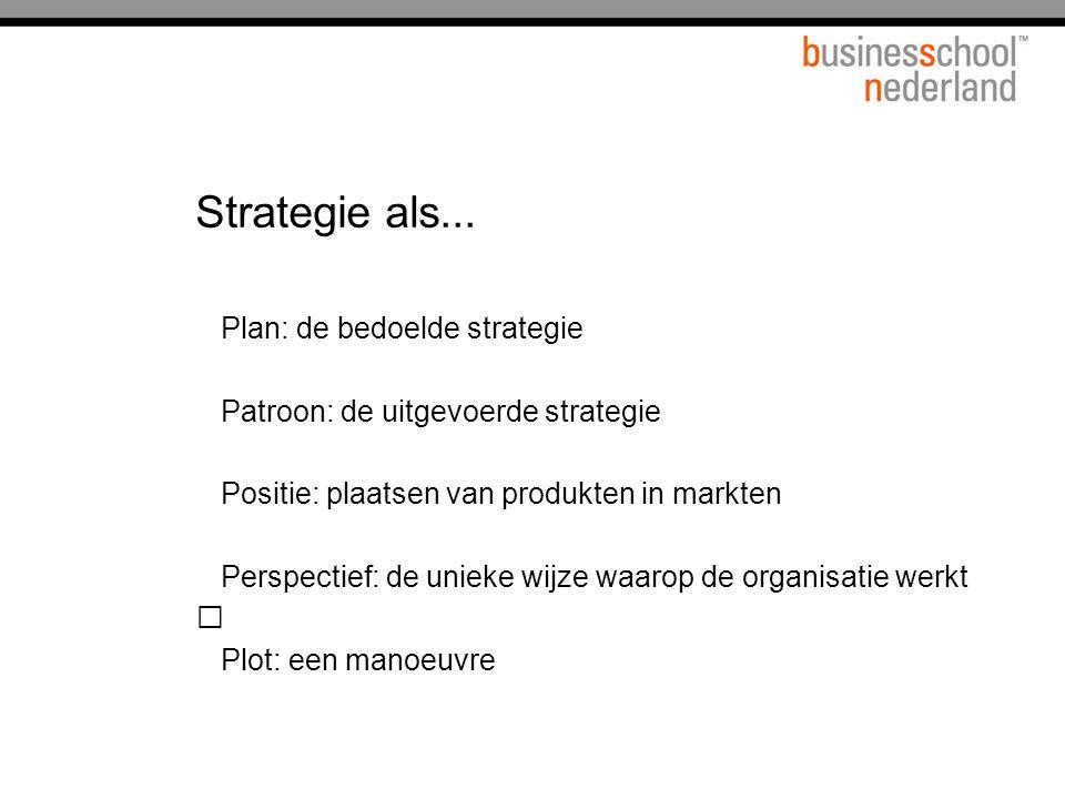 Strategie als... Plan: de bedoelde strategie