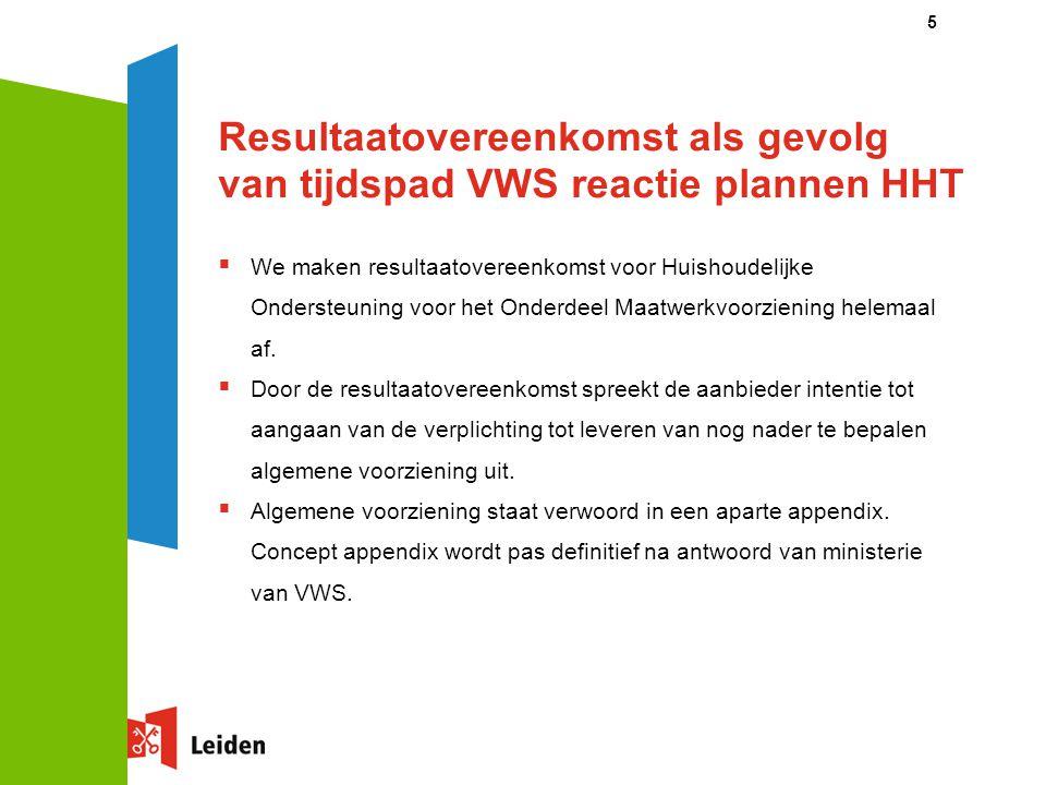 Resultaatovereenkomst als gevolg van tijdspad VWS reactie plannen HHT
