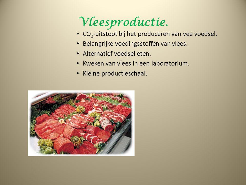 Vleesproductie. CO2-uitstoot bij het produceren van vee voedsel.