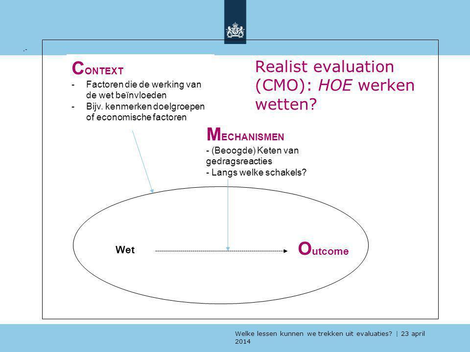 Realist evaluation (CMO): HOE werken wetten