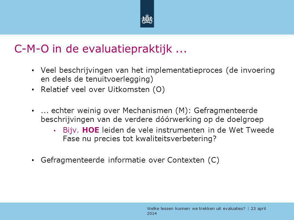 C-M-O in de evaluatiepraktijk ...