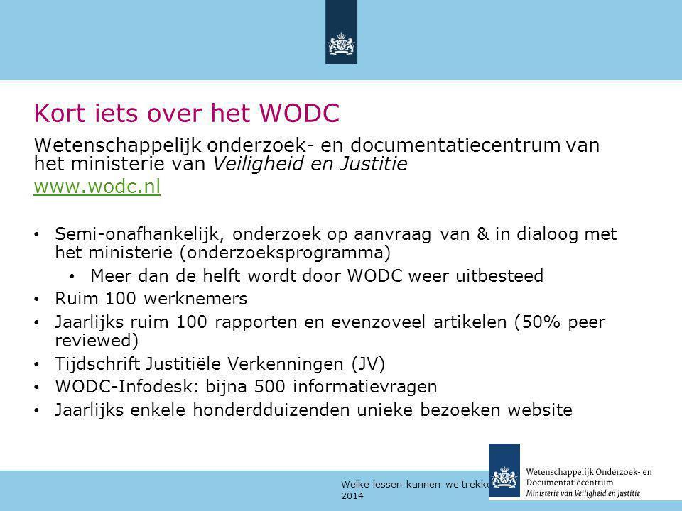 Kort iets over het WODC Wetenschappelijk onderzoek- en documentatiecentrum van het ministerie van Veiligheid en Justitie.