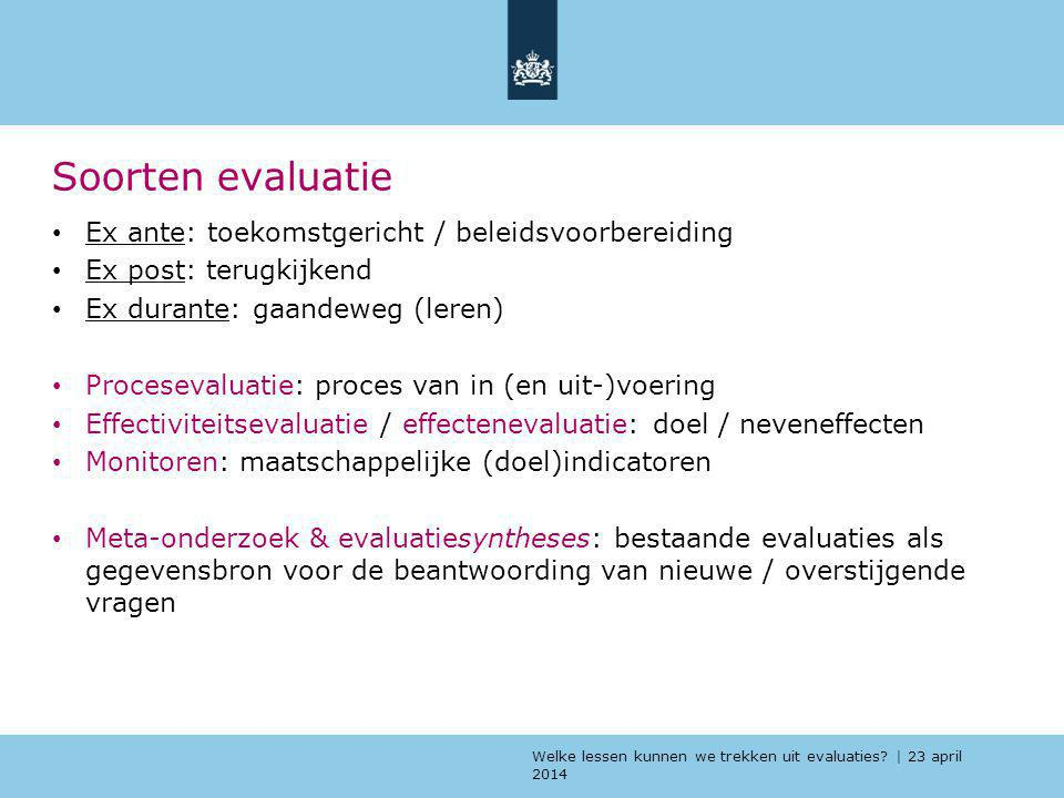 Soorten evaluatie Ex ante: toekomstgericht / beleidsvoorbereiding