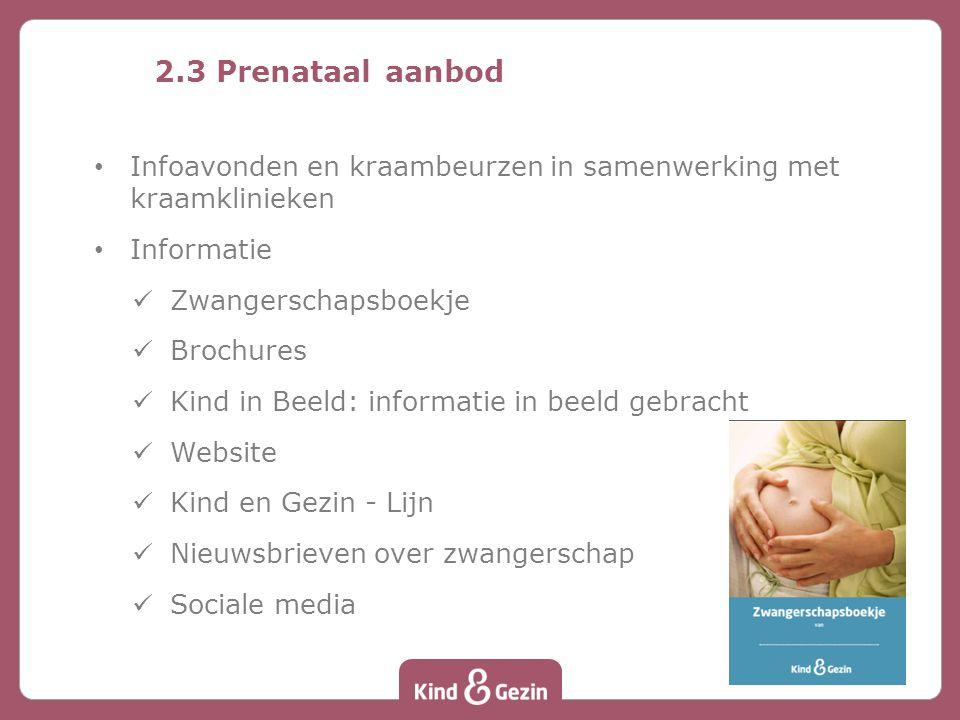 2.3 Prenataal aanbod Infoavonden en kraambeurzen in samenwerking met kraamklinieken. Informatie. Zwangerschapsboekje.