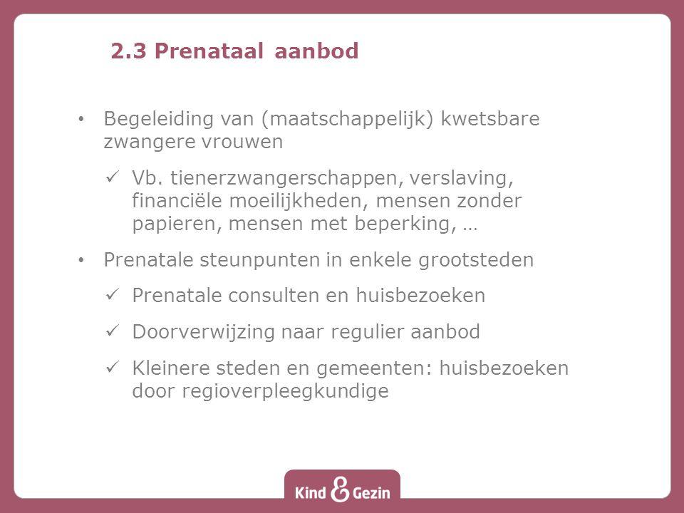 2.3 Prenataal aanbod Begeleiding van (maatschappelijk) kwetsbare zwangere vrouwen.