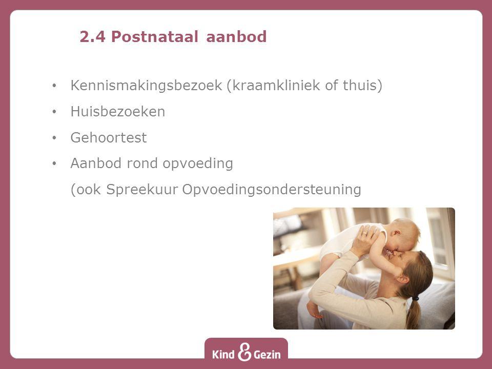 2.4 Postnataal aanbod Kennismakingsbezoek (kraamkliniek of thuis)