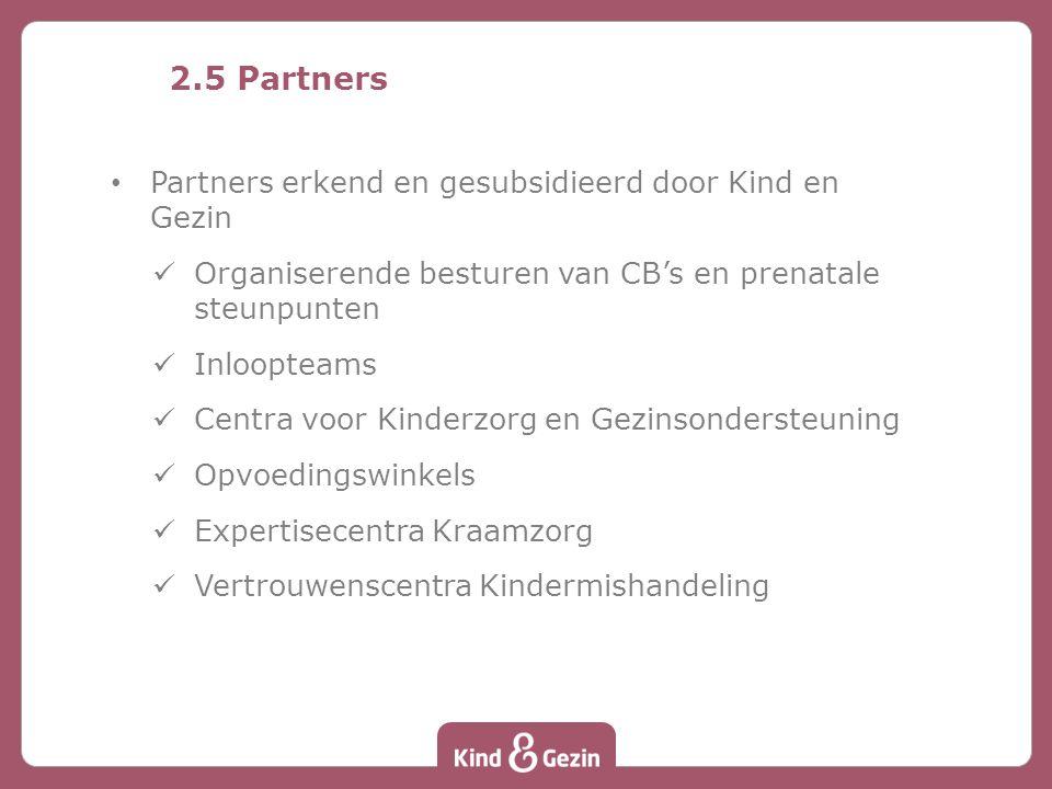 2.5 Partners Partners erkend en gesubsidieerd door Kind en Gezin