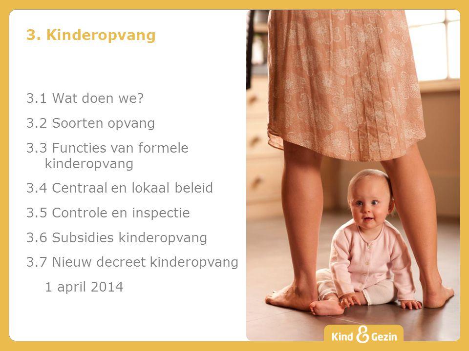 3. Kinderopvang 3.1 Wat doen we 3.2 Soorten opvang