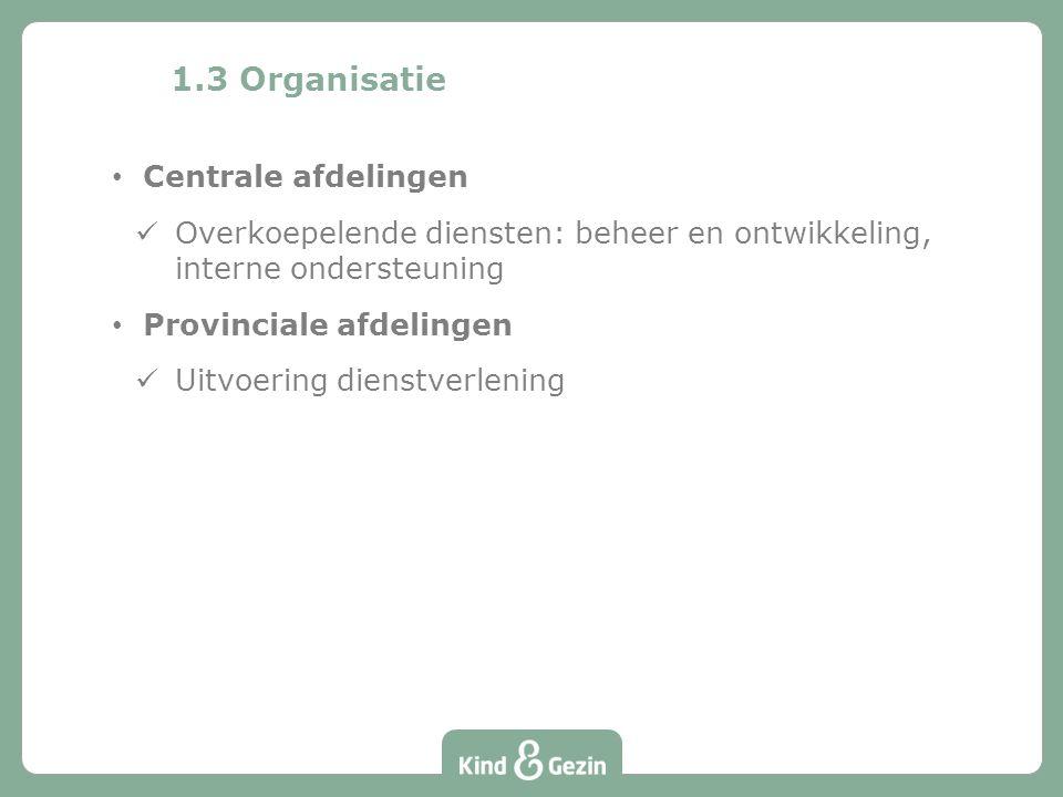 1.3 Organisatie Centrale afdelingen