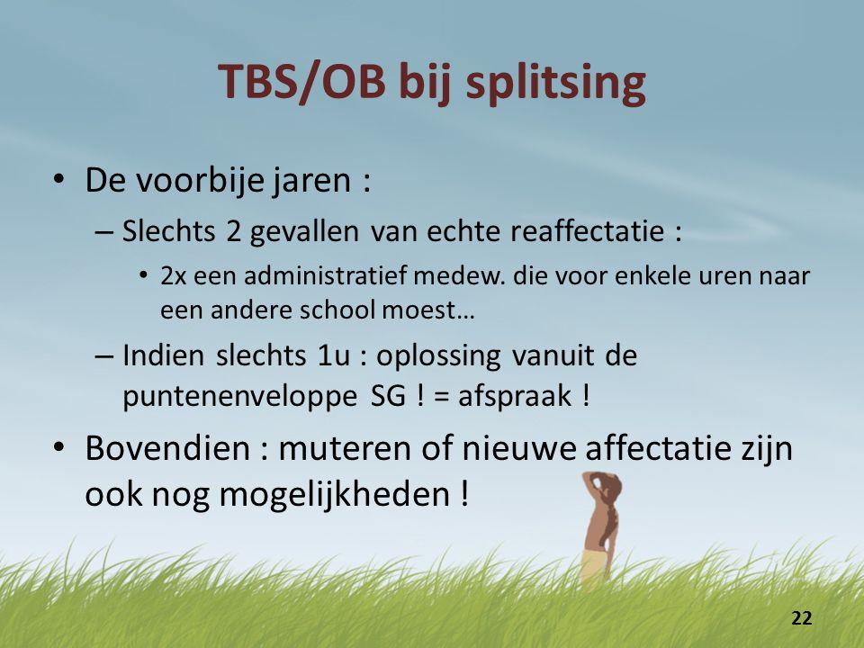 TBS/OB bij splitsing De voorbije jaren :
