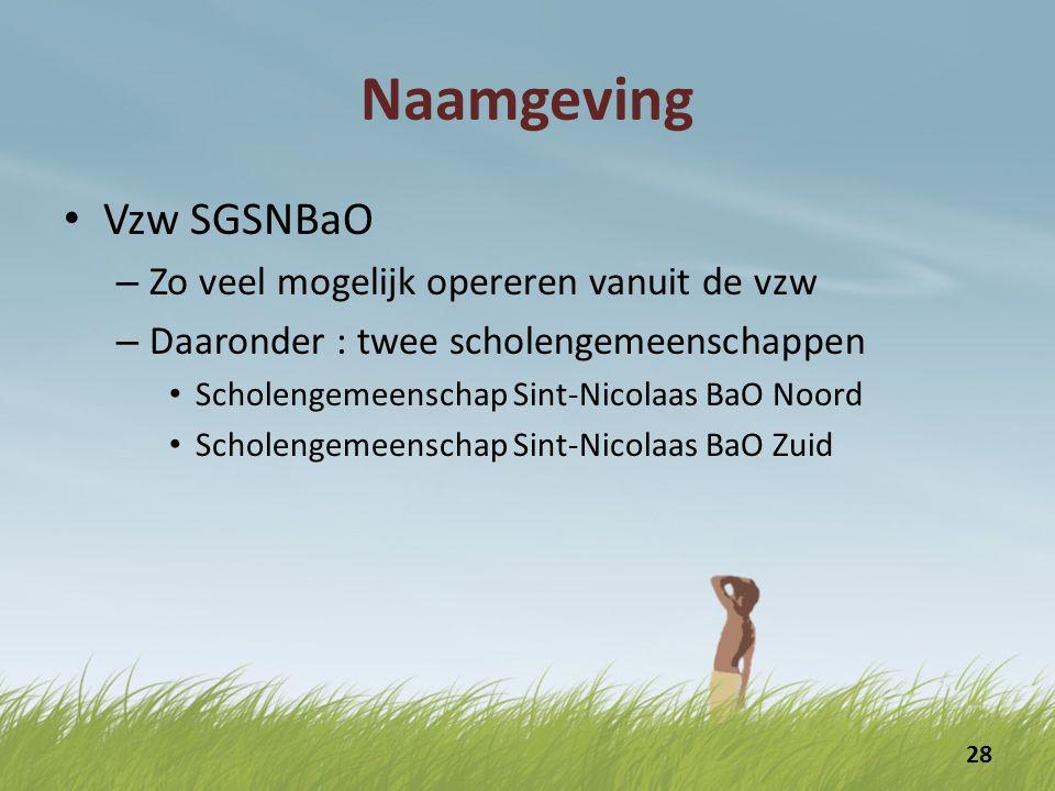 Naamgeving Vzw SGSNBaO Zo veel mogelijk opereren vanuit de vzw