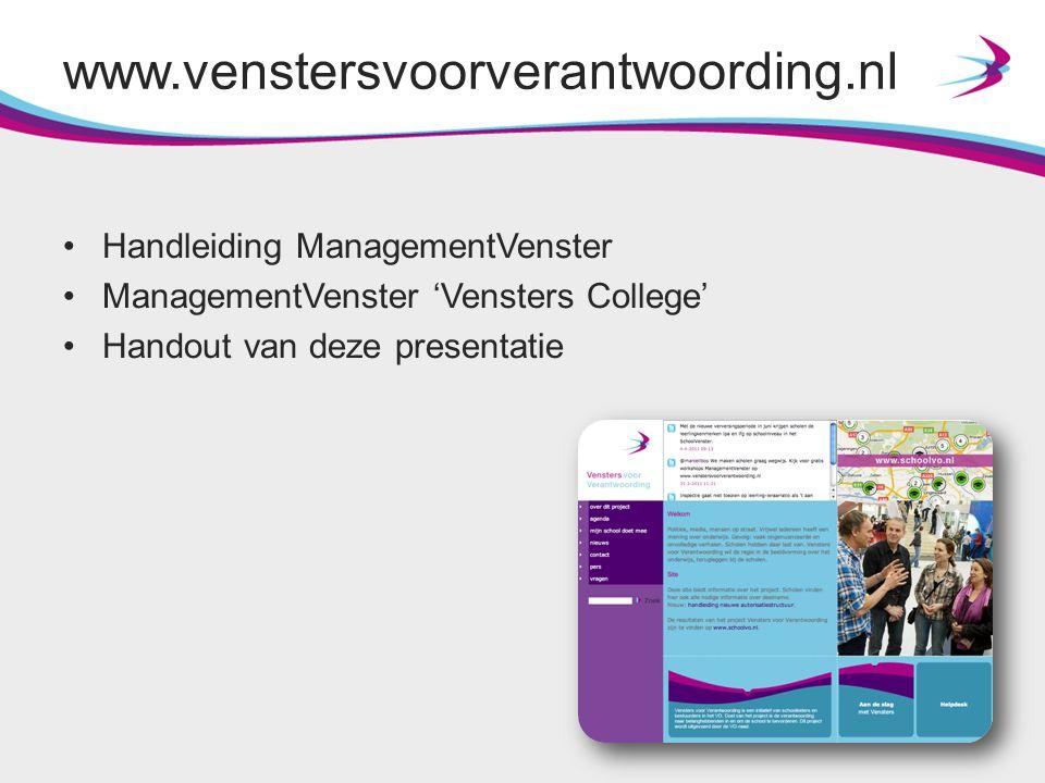 www.venstersvoorverantwoording.nl Handleiding ManagementVenster