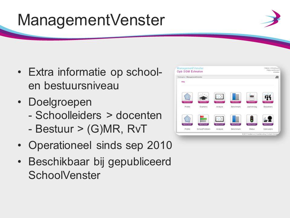 ManagementVenster Extra informatie op school- en bestuursniveau