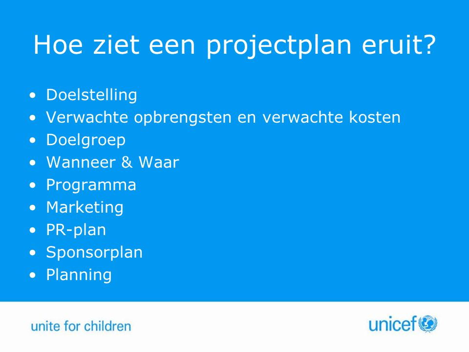 Hoe ziet een projectplan eruit