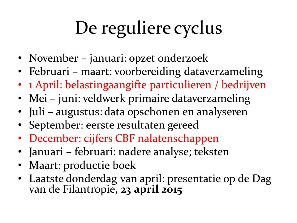 De reguliere cyclus November – januari: opzet onderzoek
