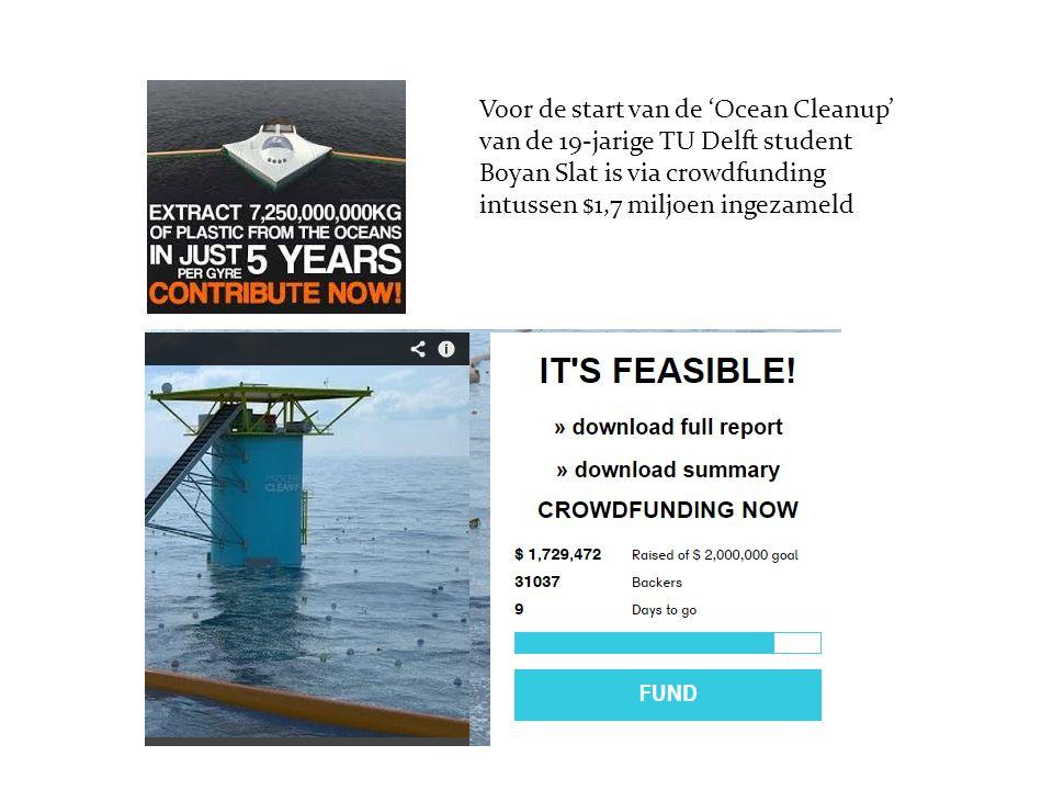 Voor de start van de 'Ocean Cleanup' van de 19-jarige TU Delft student Boyan Slat is via crowdfunding intussen $1,7 miljoen ingezameld