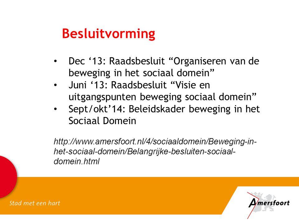 Besluitvorming Dec '13: Raadsbesluit Organiseren van de beweging in het sociaal domein