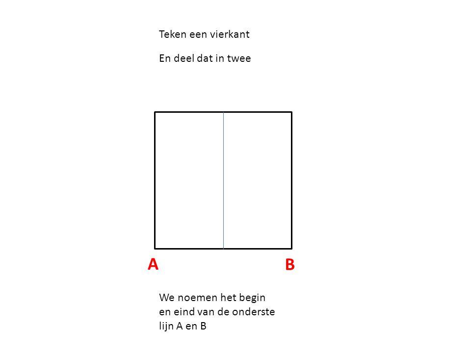 A B Teken een vierkant En deel dat in twee