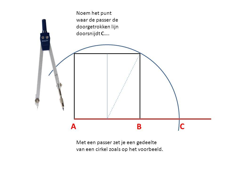 Noem het punt waar de passer de doorgetrokken lijn doorsnijdt C….