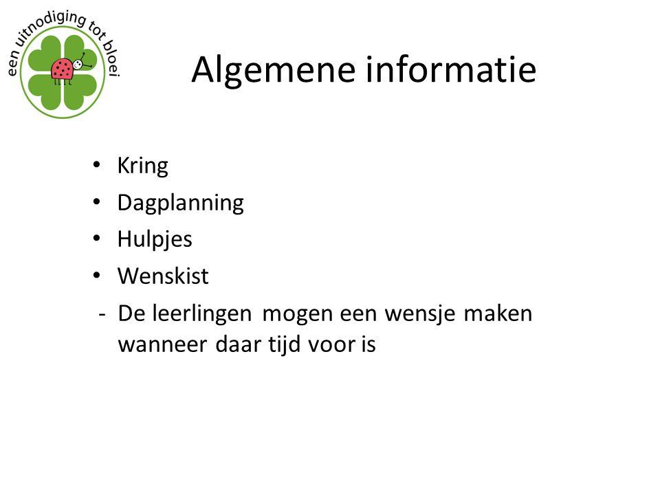 Algemene informatie Kring Dagplanning Hulpjes Wenskist