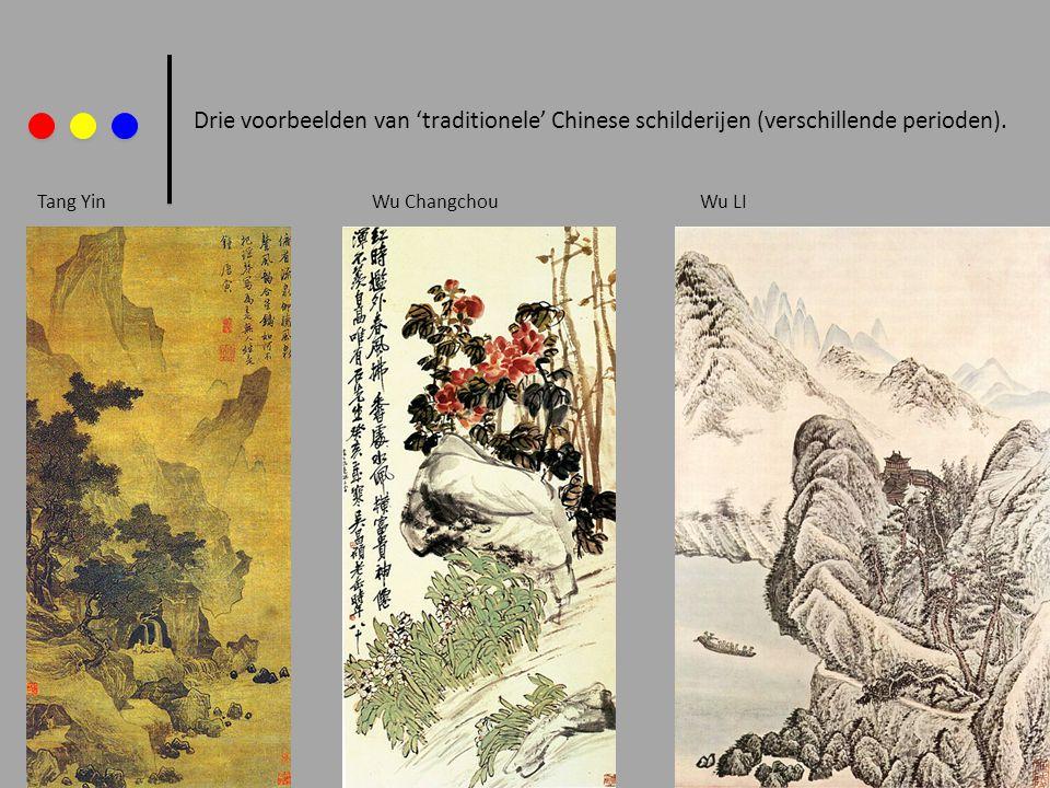 Drie voorbeelden van 'traditionele' Chinese schilderijen (verschillende perioden).