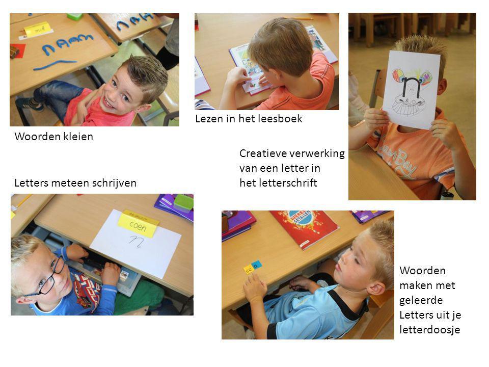 Lezen in het leesboek Woorden kleien. Creatieve verwerking. van een letter in. het letterschrift.