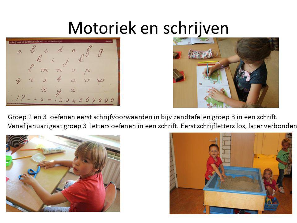 Motoriek en schrijven Groep 2 en 3 oefenen eerst schrijfvoorwaarden in bijv zandtafel en groep 3 in een schrift.